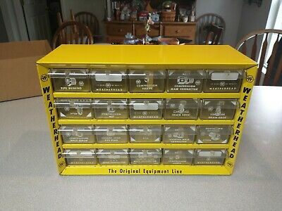 Vintage Weatherhead Yellow Metal Storage Cabinet 20 Drawer With Dividers 1
