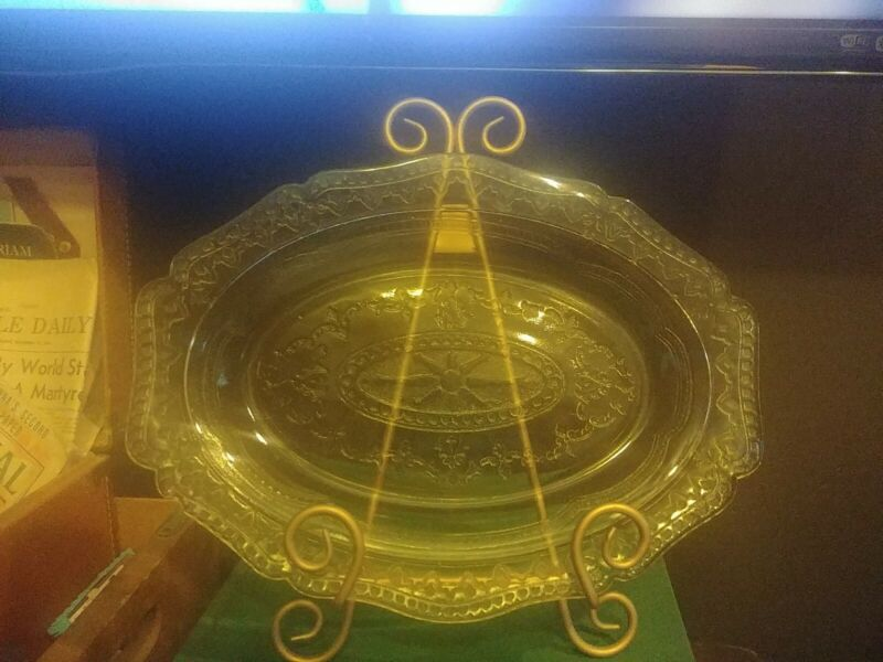 """Vintage Federal Glass Depression Patrician Amber Yellow 11x8"""" Oval Platter"""