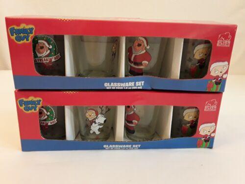Set of 8 FAMILY GUY Shot Glasses - Giftware - Novelty 2 Packs of 4 Holiday XMas