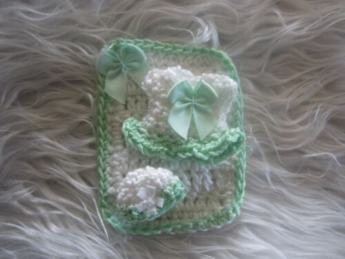 """Crocheted Blanket, Dress, and Hat for Dollhouse Miniature Baby, 2-2 1/2"""""""