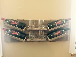 Hand made rustic wine bottle rack