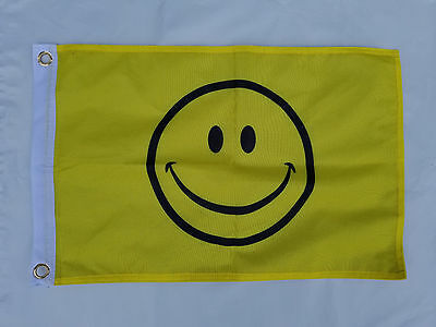 12x18 Smile Face Smiley Happy Boat Flag 2 Sided Grommets Double Sided FAST SHIP