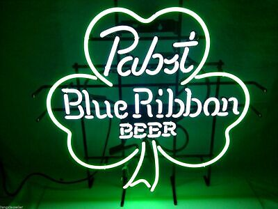New PBR Pabst Blue Ribbon Beer Clover Real Neon Sign Beer Bar Light