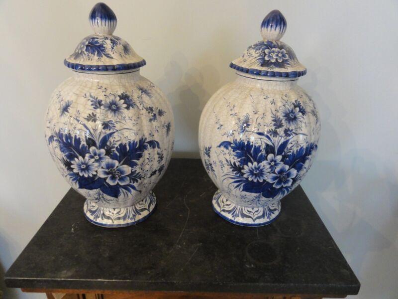 Vintage Italian Delft style covered urns ginger jars crackled glaze ceramic