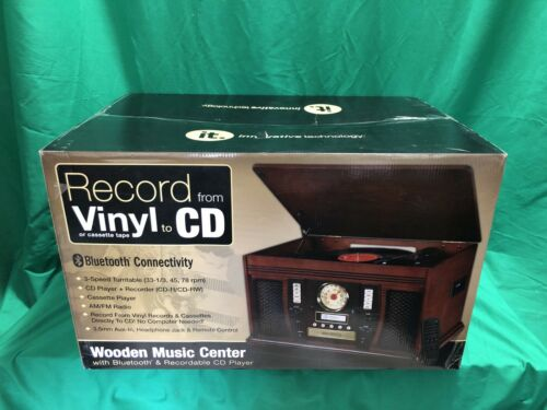 Innovative Technology 3 In 1 Wooden Music Centre Vinyl Cd Ca