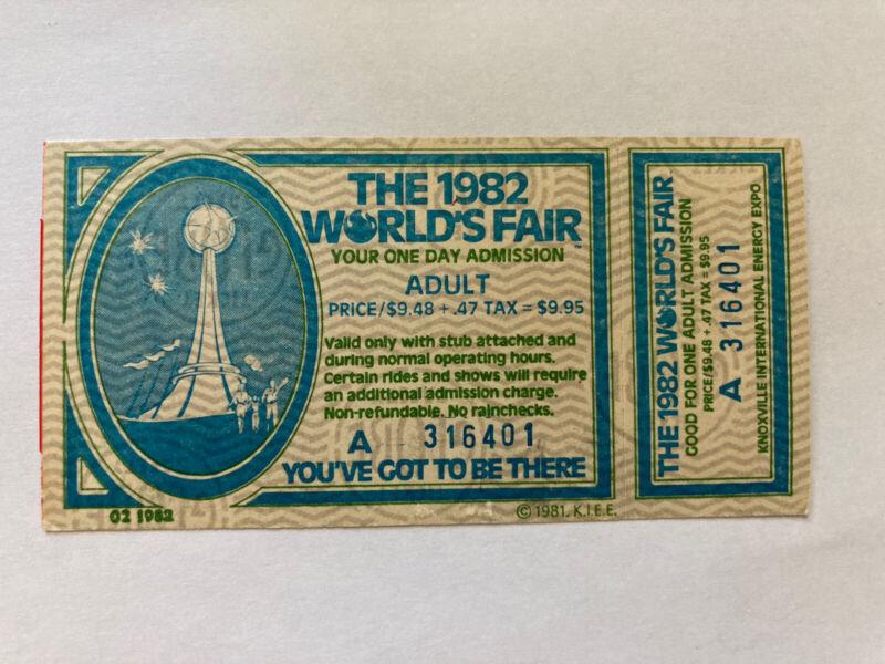 Unused Adult Ticket With Stub 1982 Knoxville World