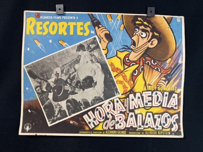 Vnt 1957 RESORTES~ ADALABERTO MARTINEZ~Hora Y Media de Balazos~Mexicn Lobby Card