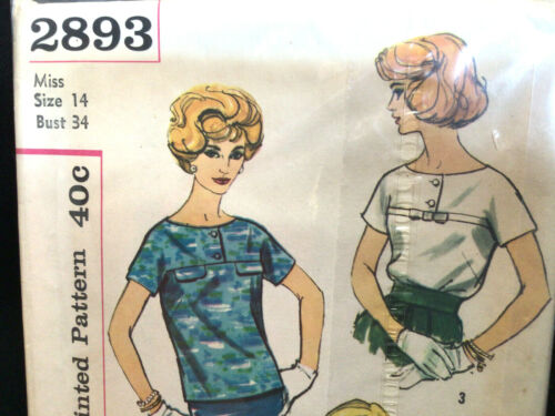 Miss Blouse & Overblouse Shirt Top Size 14 Vtg Sewing Pattern Simplicity 2893