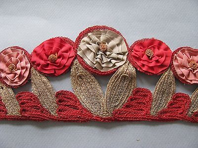 FLAPPER HAT TRIM MILLINERY METALLIC FLORAL BAND HAND DONE ANTIQUE 1920'S GREAT