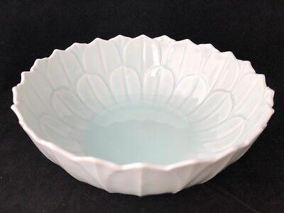 Vtg Exquisite Japanese Lotus Shape Bowl Marked Porcelain Celadon Glaze Delicate