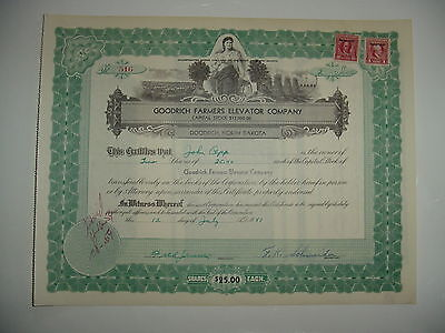 Goodrich Farmers Elevator Company Stock Certificate North Dakota
