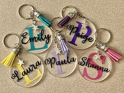 Personalised Keyring, Any Letter, Any Name, Any Colour, Novelty Gift, Present