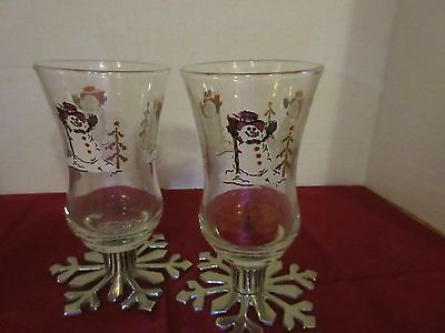 Pair of Glass Candle Holders w/ Snowmen Painted Around