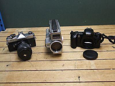 Fujica Canon Vintage Cameras Ilford Elmo Video Projector Lot