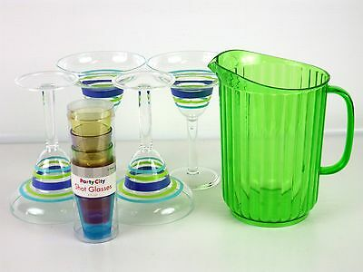 Acrylic Margarita Party Set 1 Pitcher 4 Margarita Glasses 6 Shot Glasses PARTY!