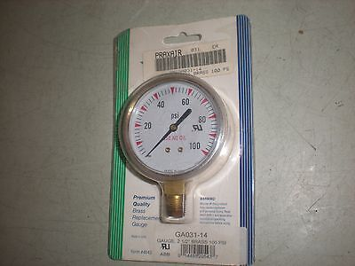 Praxair Smiga031-14 Brass Pressure Gauge To 100psi - 2-12 Dia - 14 Npt - Nip