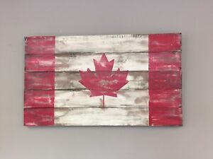 Wood Canadian flags 4ft x 30in