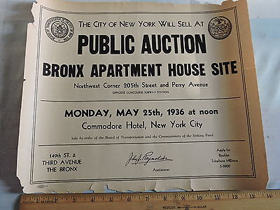 1936 Bronx New York City Nyc Broadside Real Estate Hotel Commodore Poster 11X14