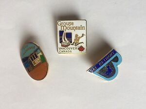 Vintage Enamel Pin Lot Ski - Bethany, Grouse Mtn and San Fran