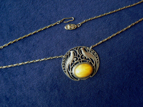 """Antique Czech Glass Filigree Silver Peacock Necklace 16"""""""