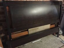 Dark stained Queen bed with mattress Plumpton Blacktown Area Preview