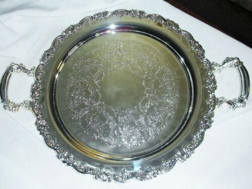 "Vintage Godinger Baroque 14"" Butler Serving Tray Silver Plated w/Handles, Unused"