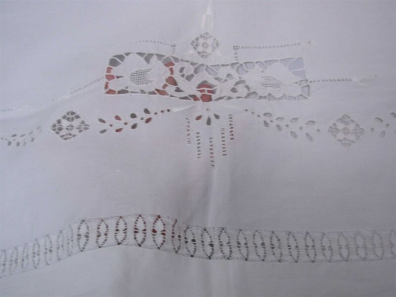 PAIR ANTIQUE COTTON FLAT PILLOW COVERS with INTRICATE CUTWORK & EMBROIDERY