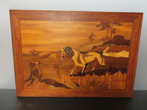 """ANTIQUE MARQUETRY WOOD INLAY PICTURE OF DOGS 23 1/2"""" x 16 1/2"""""""