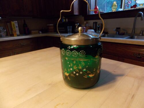 Antique Emerald Green Hand Painted Biscuit Jar
