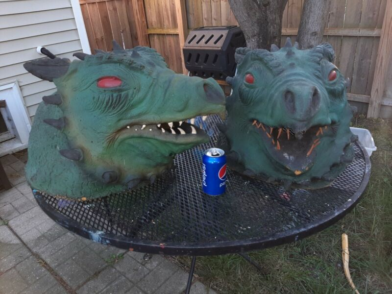 Lot of 2 Large Vintage Foam Dragons  - Halloween Decorations Haunted House Props