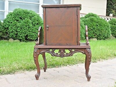 Art Deco Walnut Wood Carved Humidor Smoking Stand Copper Liner Cigars Antique
