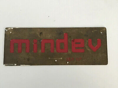 Vintage Mindev Salvaged Brass Name Plate Red Letters Man Cave