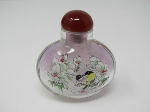 Vintage Chinese Snuff Bottle: Bird Flower Painted Glass