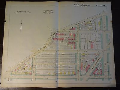 1892 Map of NW DC - U St. Corridor -Rare large property specific detail