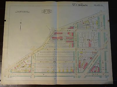 1892 Map of NW DC - U St. Corridor -Rare large property specific detail.