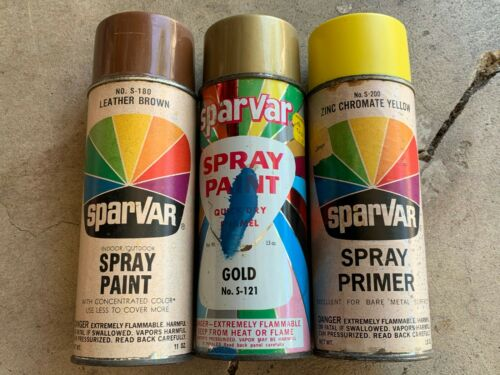 (3) Vintage SPARVAR spray paint cans LOT - GOLD YELLOW & BROWN 1960s Paper label