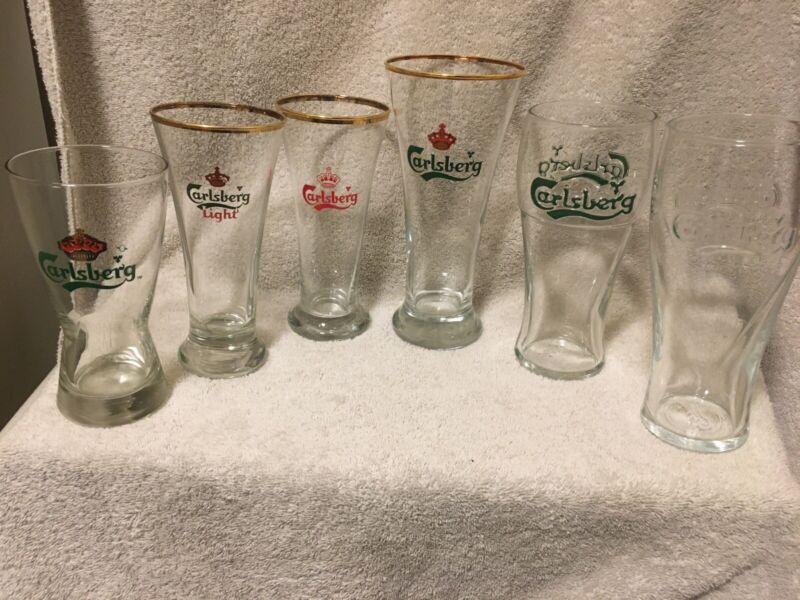 6 Different Carlsberg Beer Pilsner Glasses Beautiful R1