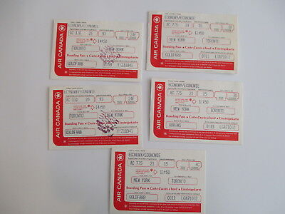 Vintage Lot Of 5 Air Canada Airlines Boarding Passes