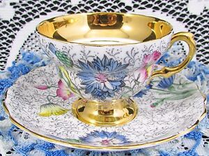 ROSINA FLORAL CHINTZ HEAVY GOLD WAISTED TEA CUP AND SAUCER