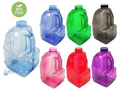 BPA Free 1 Gallon Plastic Water Bottle Container Drinking Canteen Jug Juice H2O (1 Gallon Plastic Bottles)