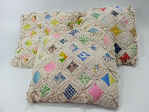 3 Antique Handmade Quilt Pattern Pillows