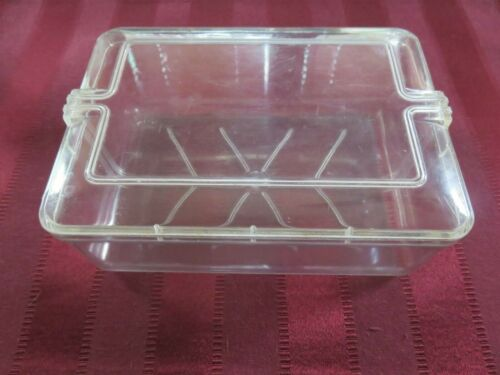 Vintage Tri-State Plastic Clear Rectangle Storage Container Art Deco