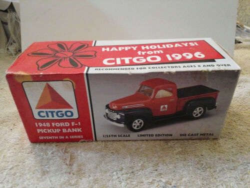 1948 FORD F-1 CITGO PICKUP TRUCK 1:25 SCALE DIECAST BANK NEW OPEN BOX # 68504