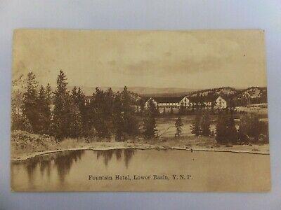 Yellowstone postcard - Amer Import - Fountain Hotel YNP Shaw & Powell Camp mark