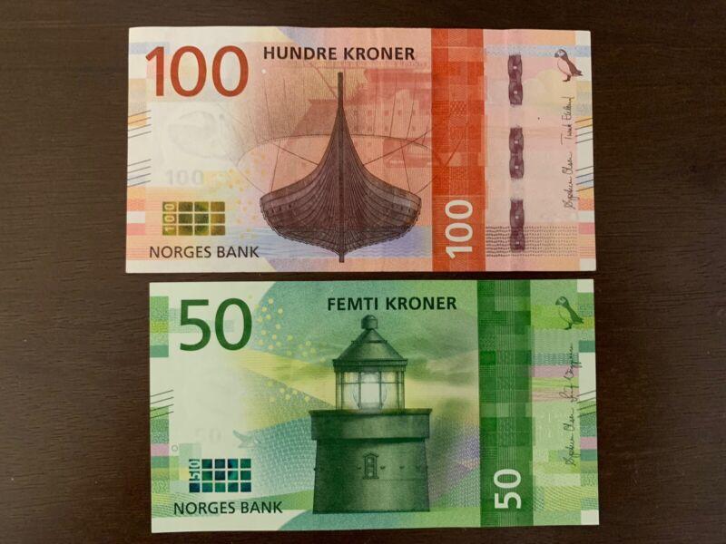50 + 100 Kroner Norway Banknotes. 150 Kronor Total. Norwegian Banknote. 2 Bills
