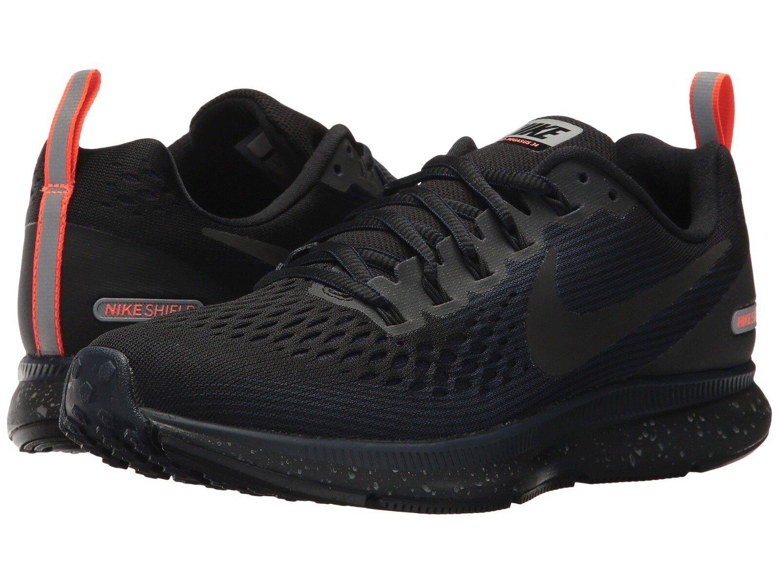 Nike Air Zoom Pegasus 34 Shield Women`s Szs 9-10.5 Black/Obsidian 907328-001 NEW