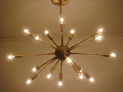 "SPUTNIK STARBURST LIGHT FIXTURE CHANDELIER LAMP SATIN BRUSHED BRASS 24"" 18 ARMS"