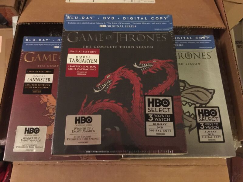 Game of Thrones Season 3 Blu-ray House Targaryen, Stark, Lannister LIMITED NEW