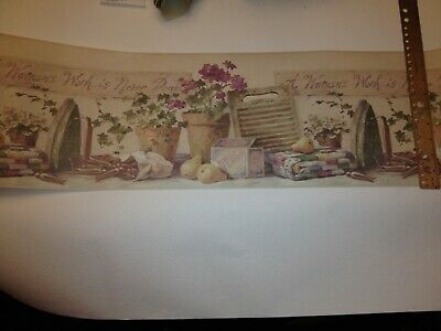 - WASHBOARD AND IRON LAUNDRY ROOM PREPASTED WALLPAPER BORDER # HS3033B