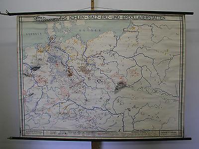 Schulwandkarte Beautiful Old Germany Coal Erz Salt Erdöl 1949 159x118 Vintage